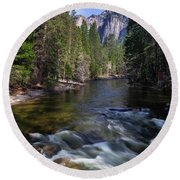 Merced River, Yosemite National Park Round Beach Towel