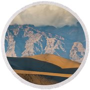 Mesquite Flat Sand Dunes At Sunset Round Beach Towel