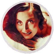 Michele Morgan, Vintage Actress Round Beach Towel