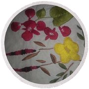 Moms Hand Embroidery Round Beach Towel
