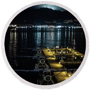 Mountain Lights Round Beach Towel by Ross G Strachan