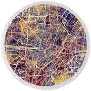 Munich Germany City Map Round Beach Towel