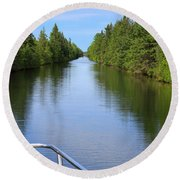 Narrow Cut On The Trent Severn Waterway Round Beach Towel
