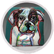Neon Bulldog Round Beach Towel