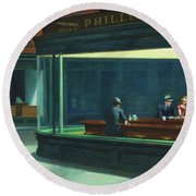 Nighthawks, 1942  Round Beach Towel