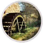 old mill wheel and stream at Preston Mill, East Linton Round Beach Towel