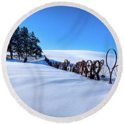Old Wheels At The Barn Round Beach Towel