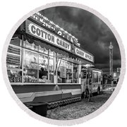 On The Midway - Temptations Of The Night 4 Bw Round Beach Towel