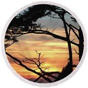 Oregon Coast Sunset Round Beach Towel