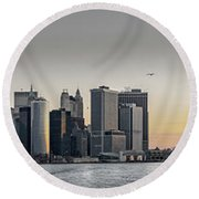 Panoramic View Of Manhattan Island And The Brooklyn Bridge At Su Round Beach Towel