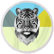 Party Tiger Round Beach Towel