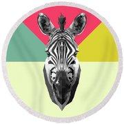 Party Zebra  Round Beach Towel