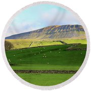 Penyghent In Yorkshire Dales National Park North Yorkshire Round Beach Towel