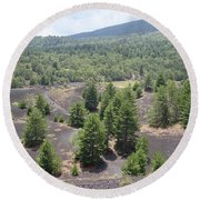 Photography Landscape Shot From The Etna National Park On Sicily Round Beach Towel