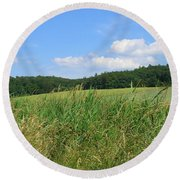 Photography Landscape With Fields In Germany Round Beach Towel