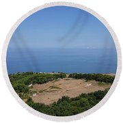 Photography View Over The Mountain Village Erice In Sicily Round Beach Towel