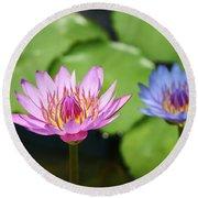 Pink Lotus Water Flower Round Beach Towel