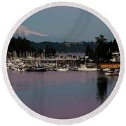 Pink Purple Glow Over Mount Rainier And Gig Harbor Marina After Sunset Round Beach Towel