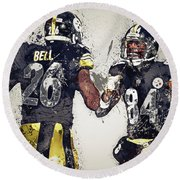 Pittsburgh Steelers.le'veon Bell And Antonio Brown Round Beach Towel