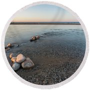 Platte River Mouth At Sunset Round Beach Towel