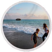 Playing Barefooted At Aphrodite's Birthplace Round Beach Towel