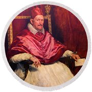 Pope Innocent X Round Beach Towel