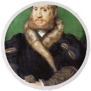 Portrait Of A Bearded Man With A Fur Coat  Round Beach Towel