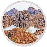 Prescott Arizona Watson Lake Rocks, Hills Water Sky Clouds 3122019 4868 Round Beach Towel