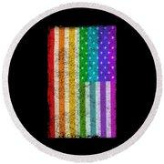 Rainbow Us Flag Round Beach Towel