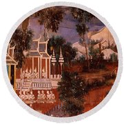 Ramayana Murals In A Palace, Royal Round Beach Towel
