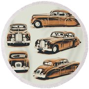 Retro Rides Round Beach Towel