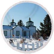 Russian Orthodox Church Ninilchik Alaska Round Beach Towel