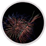 Saint Louis Riverfront 4th Of July Round Beach Towel