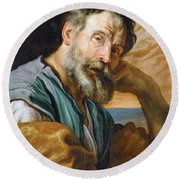 Saint Peter Repenting  Round Beach Towel