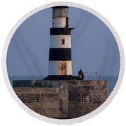 Seaham Lighthouse Round Beach Towel