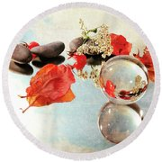 Seasons In A Bubble Round Beach Towel