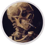 Skull With Cigarette  Round Beach Towel