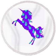 Snowman Wrapping Paper Unicorn Round Beach Towel