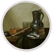 Still Life With Tobacco  Wine And A Pocket Watch  Round Beach Towel