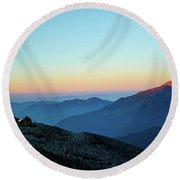 Sunrise Above Mountain In Valley Himalayas Mountains Mardi Himal Round Beach Towel