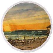 Sunset On Bradenton Beach, Fl. Round Beach Towel