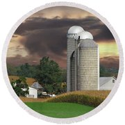 Sunset On The Farm Photo Round Beach Towel by David Dehner