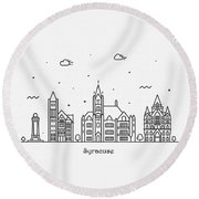 Syracuse, New York Cityscape Travel Poster Round Beach Towel