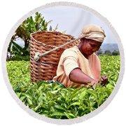 Tea Picker In Kenya Round Beach Towel