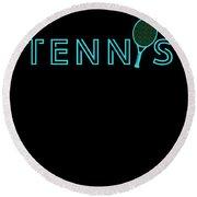 Tennis Player Ball Racket Serve Game I Love Tennis Round Beach Towel
