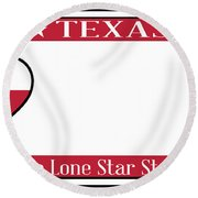 Texas State License Plate Round Beach Towel