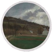 The Banks Of The Marne In Winter Round Beach Towel