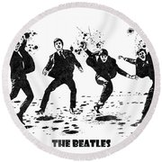 The Beatles Black And White Watercolor 01 Round Beach Towel