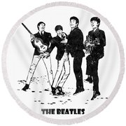 The Beatles Black And White Watercolor 02 Round Beach Towel