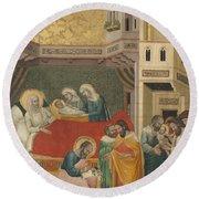 The Birth, Naming, And Circumcision Of Saint John The Baptist Round Beach Towel